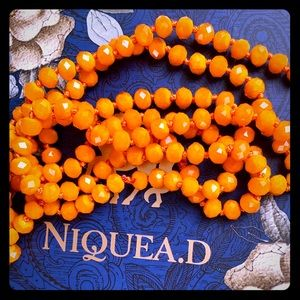 Niquead Orange Glass Strand of Beads Necklace